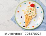 sweet waffle with banana and...   Shutterstock . vector #705370027