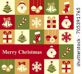 merry christmas. greeting card | Shutterstock . vector #705391765