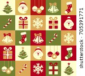 christmas symbols background | Shutterstock . vector #705391771