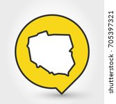 outline map of poland  yellow... | Shutterstock .eps vector #705397321
