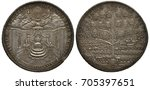 Small photo of German Germany Episcopacy of Eichstatt silver coin 2 two thalers 1790, ruler Johann Anton II, Sede Vacante (vacant throne), chair on pedestal, two chairs with regalia at sides, genealogic tree