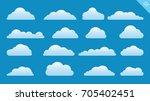 vector design set of clouds in... | Shutterstock .eps vector #705402451