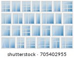 set of windows with different... | Shutterstock .eps vector #705402955