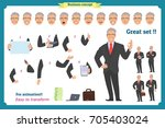 businessman character. poses... | Shutterstock .eps vector #705403024