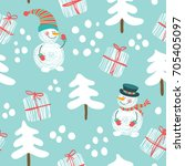 Seamless Pattern With A Snowma...