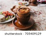 the national turkish dish in... | Shutterstock . vector #705409129
