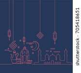 modern islamic card. hand drawn ... | Shutterstock .eps vector #705418651