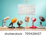 retro old microphones for press ... | Shutterstock . vector #705428437