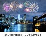 fireworks over new york city...   Shutterstock . vector #705429595