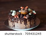 homemade cake decorated with... | Shutterstock . vector #705431245