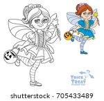 cute girl in fairy costume... | Shutterstock .eps vector #705433489