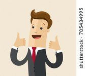 businessman shows  both hands a ... | Shutterstock .eps vector #705434995