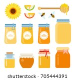 a honey set of glass containers ... | Shutterstock .eps vector #705444391