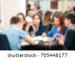 blurred people in the banquet... | Shutterstock . vector #705448177