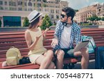 young married couple got lost... | Shutterstock . vector #705448771