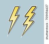 lightning bolt pop art set... | Shutterstock .eps vector #705456637