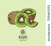 background with kiwi fruit and... | Shutterstock .eps vector #705461551