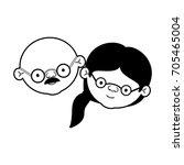 caricature face of elderly... | Shutterstock .eps vector #705465004