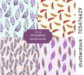 set of  feathers seamless... | Shutterstock .eps vector #705476629
