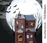 haunted house on fullmoon night ... | Shutterstock .eps vector #705486661