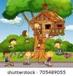 kids playing at treehouse in... | Shutterstock .eps vector #705489055
