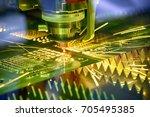 the fiber  laser cutting... | Shutterstock . vector #705495385