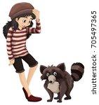 little girl and cute racoon... | Shutterstock .eps vector #705497365