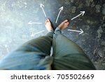 female barefeet with drawn... | Shutterstock . vector #705502669