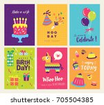 set of colorful birthday cards... | Shutterstock .eps vector #705504385