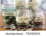 bottles of cash with coins... | Shutterstock . vector #70550551