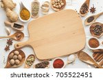 mixed dry spices in wooden... | Shutterstock . vector #705522451