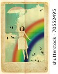 beauty woman fly with umbrella in sky, colorful rainbow - stock photo