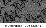 halloween bat lace pattern in... | Shutterstock .eps vector #705533641