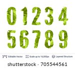 spring green bright numbers set.... | Shutterstock .eps vector #705544561
