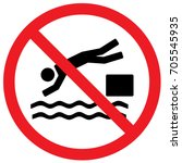 no diving sign. vector. | Shutterstock .eps vector #705545935