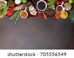 various spices and herbs frame... | Shutterstock . vector #705556549