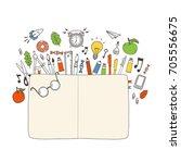 hand drawn school stuff  vector ... | Shutterstock .eps vector #705556675