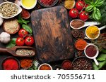 various spices  herbs and... | Shutterstock . vector #705556711