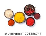 various spices and herbs.... | Shutterstock . vector #705556747