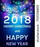 happy 2018 new year flyer.... | Shutterstock .eps vector #705558805