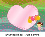 valentine day card with girl... | Shutterstock . vector #70555996