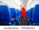passenger seat in airplane ... | Shutterstock . vector #705560161