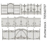 iron gate and fence design with ... | Shutterstock .eps vector #705560707