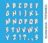 isometric alphabet. techno font ... | Shutterstock .eps vector #705560821