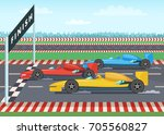 race cars on finish line. sport ... | Shutterstock .eps vector #705560827