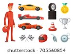 sport cars and different racing ... | Shutterstock .eps vector #705560854
