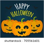 jack pumpkins happy halloween | Shutterstock .eps vector #705561601