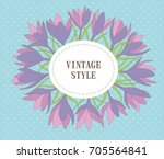 cute wreath with leaves  crocus ... | Shutterstock .eps vector #705564841