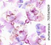 summer flowers seamless pattern.... | Shutterstock . vector #705569839