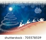 blue background with christmas... | Shutterstock .eps vector #705578539